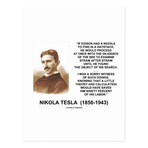 Nikola Tesla Edison Needle Haystack Theory Quote Post Cards