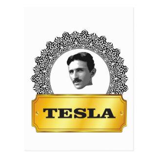 nikola tesla gold postcard