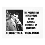 Nikola Tesla Progressive Development Of Man Quote 21.5 Cm X 28 Cm Flyer