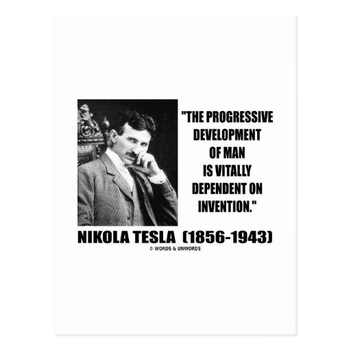 Nikola Tesla Progressive Development Of Man Quote Postcards