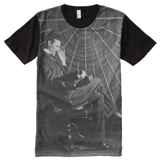 Nikola Tesla Studying All-Over Print T-Shirt