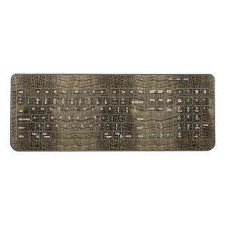 Nile Crocodile Classic Reptile Leather (Faux) Wireless Keyboard