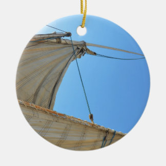 Nile Felucca Sail Round Ceramic Decoration