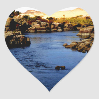 Nile River in Aswan river - Sahara Desert Heart Sticker
