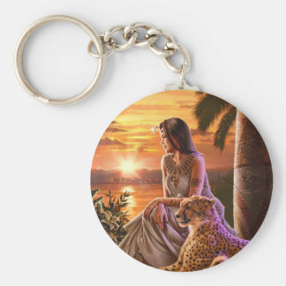 """Nile Sunset"" Basic Round Button Key Ring"