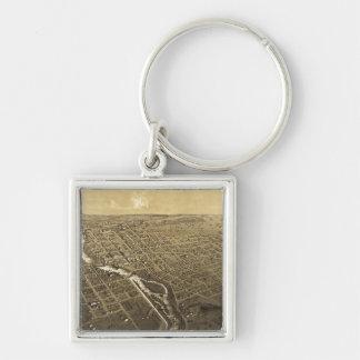 Niles, Berrien County, Michigan (1868) Silver-Colored Square Key Ring