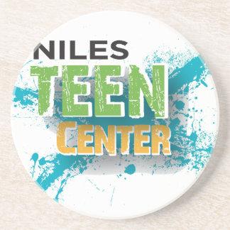 Niles Teen Center Logo Sandstone Coaster