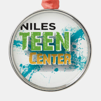Niles Teen Center Logo Silver-Colored Round Decoration