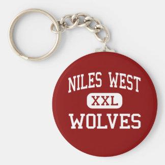 Niles West - Wolves - High - Skokie Illinois Basic Round Button Key Ring