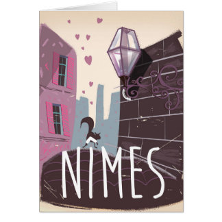 Nîmes France Cartoon travel poster Card