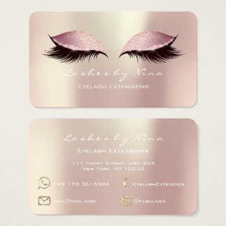 Nina Makeup Eyebrow Lashes Glitter Pink Luxury Business Card