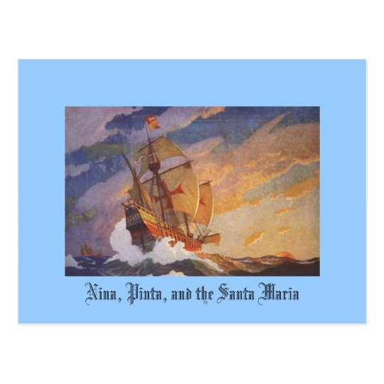 Nina, Pinta, and the Santa Maria Postcard