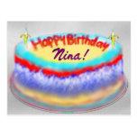 Nina's birthday cake post card