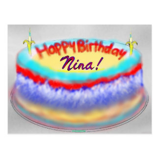 Nina's birthday cake post card