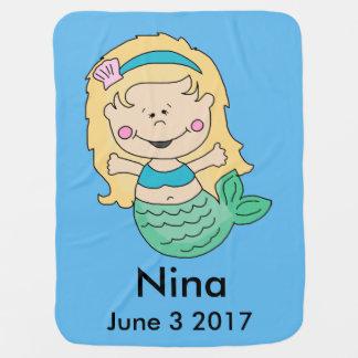 Nina's Personalized Mermaid Baby Blanket