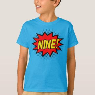 NINE! 9th Birthday Gift Superhero Logo T-Shirt