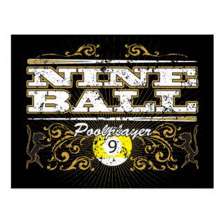 Nine Ball Vintage Design Postcard