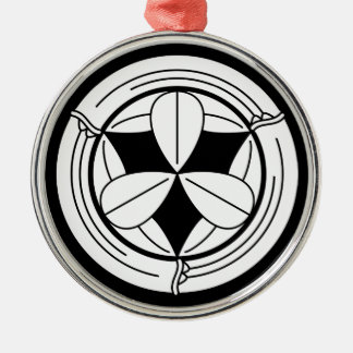 Nine bamboo leaves in bamboo circle christmas ornament