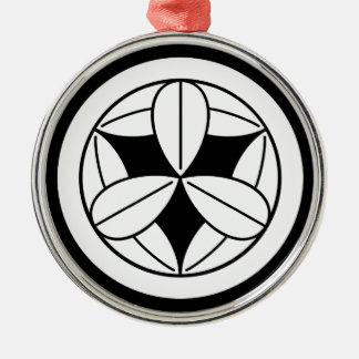 Nine bamboo leaves in circle christmas ornament