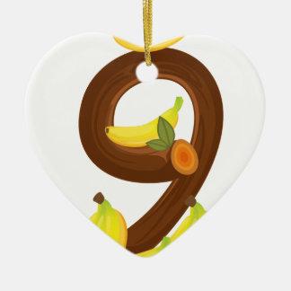 Nine bananas ceramic heart decoration