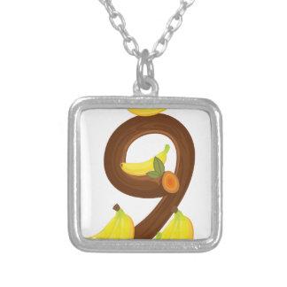 Nine bananas square pendant necklace
