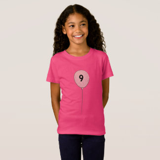 Nine Birthday with Pink Balloon T-Shirt