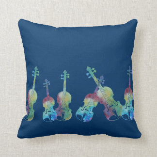 Nine Colorful Violins Throw Pillow