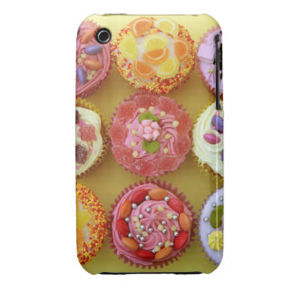 Nine cupcakes each decorated with candy in a iPhone 3 cases