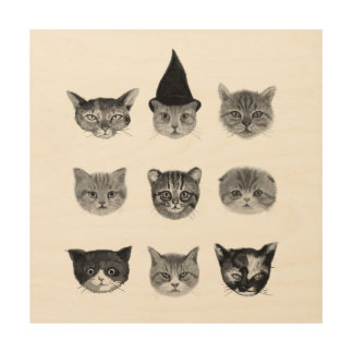 NINE CUTE CATS INK DRAWING WOOD CANVASES