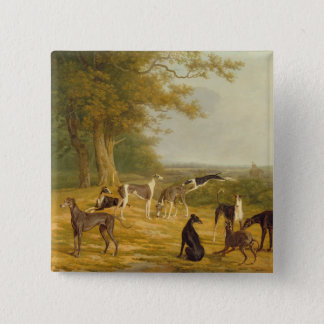 Nine Greyhounds in a Landscape (oil on canvas) 15 Cm Square Badge