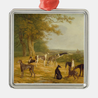 Nine Greyhounds in a Landscape (oil on canvas) Christmas Ornament