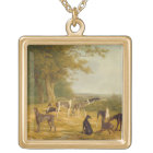Nine Greyhounds in a Landscape (oil on canvas) Gold Plated Necklace