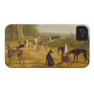 Nine Greyhounds in a Landscape (oil on canvas) iPhone 4 Case