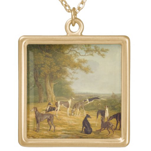 Nine Greyhounds in a Landscape (oil on canvas) Custom Jewelry
