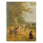 Nine Greyhounds in a Landscape (oil on canvas) Notebook