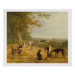 Nine Greyhounds in a Landscape (oil on canvas) Poster