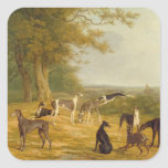 Nine Greyhounds in a Landscape (oil on canvas) Square Sticker