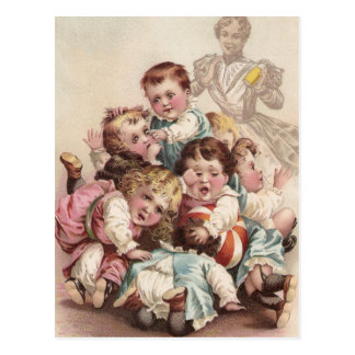 Nine Kids in a Pile Postcard