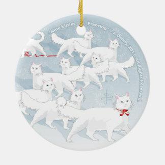 Nine Kitties Prancing... double sided Christmas Ornament
