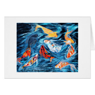 Nine Koi Fish. Greeting card