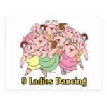 nine ladies dancing ninth 9th day of christmas postcard