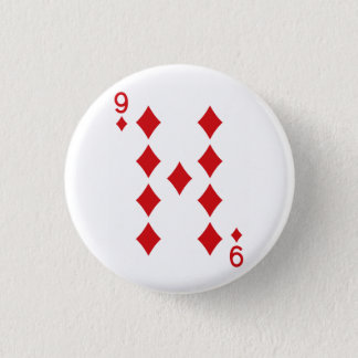 Nine of Diamonds Playing Card 3 Cm Round Badge