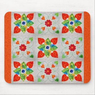 Nine Patch Heart Quilt Mouse Mat