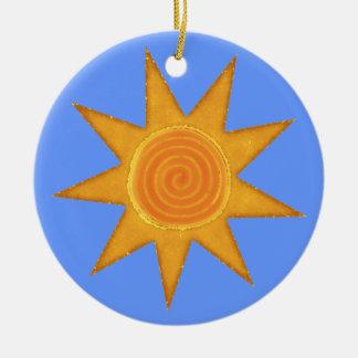 Nine Ray Yellow Spiral Sun Symbol Round Ceramic Decoration