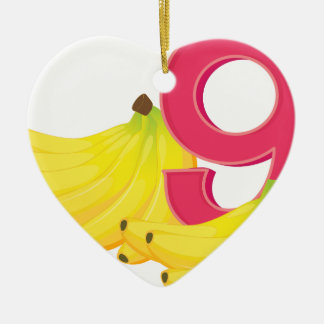 Nine ripe bananas ceramic heart decoration