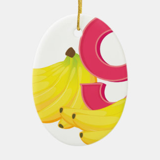 Nine ripe bananas ceramic oval decoration