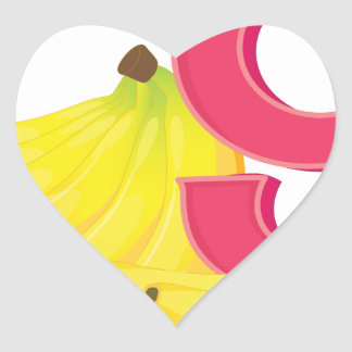 Nine ripe bananas heart sticker