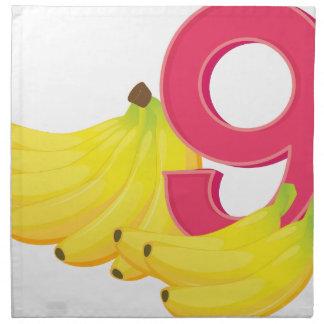 Nine ripe bananas printed napkin