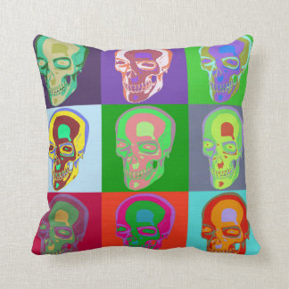 Nine Skulls Pop Art Throw Pillow