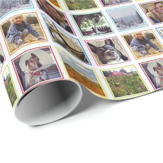 Nine Square Photos in Rainbow Frames Instagram Wrapping Paper